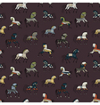seamless abstract background with ethnic horses vector image