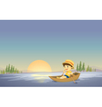 Canoe boy background vector image vector image