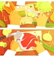 Cooking Of Salad And Steak Two Bright Color vector image