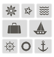 icons with marine recreation symbols vector image