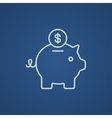 Piggy bank with dollar coin line icon vector image