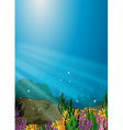 Nature scene under the sea with coral reef vector image