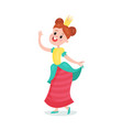 beautiful happy cartoon princess girl character in vector image