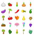 botany icons set cartoon style vector image