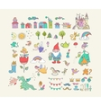 Collection of fairy tales hand drawn doodles vector image