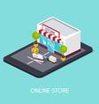 Flat 3d web isometric online shopping E-commerce vector image