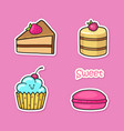 funny stickers with sweets vector image