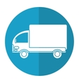 truck mini delivery cargo blue circle vector image