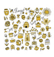 honey apiary icons set sketch for your design vector image vector image