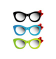 Colorful cat eye sunglasses with red bow vector image