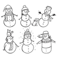Set of 6 hand drawn snowman vector image vector image