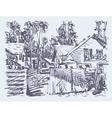 original digital graphic of village composition vector image