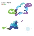 Abstract color map of Saint-Martin vector image