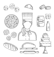 Baker profession and pastry sketched icons vector image