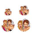Girls bride hen party pop art avatar icons vector image