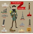 Guy with backpack and travel icons vector image