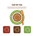 line icon cup of tea top view vector image
