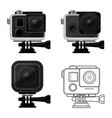 set of action camera icons in waterproof case vector image