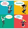 Set of people jumping in the air with happy vector image