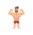 young muscular bearded man flat fitness icon vector image