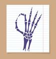 skeleton hand ok sign vector image vector image