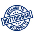 welcome to nottingham blue stamp vector image