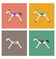 flat icon design collection kids rocking horse vector image vector image
