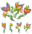 collection exotic abstract flowers for your design vector image