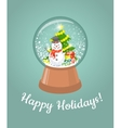 Christmas glass snow ball with happy snowman vector image