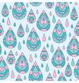 Autumn seamless blue ornamental pattern with rain vector image