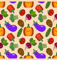 vegetable seamless patterns kawaii characters vector image