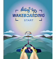 Wakeboarding start in water vector image