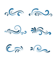 Wave icon set vector image