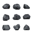 Polygonal stones rock graphite coal elements for vector image