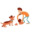 Man cleaning its dogs poop vector image