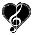 music music heart abstraction vector image