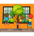 Three children climbing up the window vector image vector image