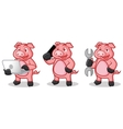 Deep Pink Pig Mascot with phone vector image