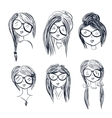 Six black and white avatars of girls with vector image