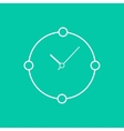 abstract white clock isolated on green background vector image
