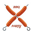 barbecue party fried sausages on skewers vector image