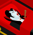 Death of Dracula Vampire Count in an open coffin vector image