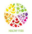 healthy food organic diet fruit circle cartoon vec vector image