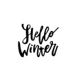 merry christmas card with calligraphy hello winter vector image