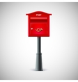 Red mailbox hanging on the wall logo postal horn vector image