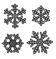 set of snowflakes holiday collection black vector image