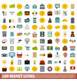 100 money icons set flat style vector image