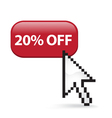 20 Off Button Click vector image
