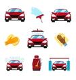 set of car washing flat icons vector image vector image