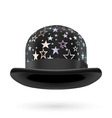 Black starred bowler hat vector image